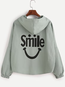 Letter Print Back Hooded Drop Shoulder Seam Coat