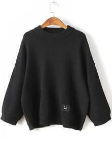 Black Face Patch Drop Shoulder Sweater
