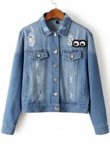 Blue Cartoon Embroidery Ripped Denim Jacket