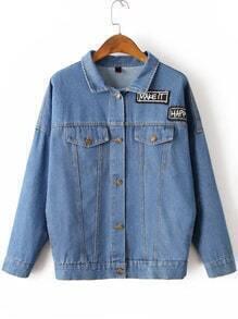 Blue Letter Embroidery Denim Jacket