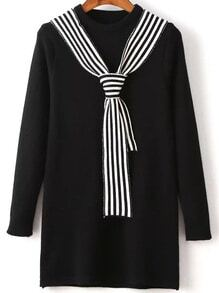 Black Round Neck Sweater Dress With Striped Tie