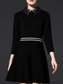 Black Stars Beading Knit A-Line Dress