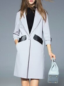 Grey Lapel Contrast Pu Pockets Coat