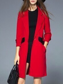 Red Lapel Contrast Pu Pockets Coat
