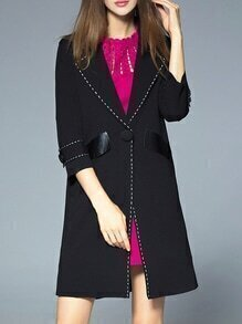 Black Lapel Contrast Pu Pockets Coat