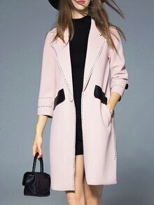 Pink Lapel Contrast Pu Pockets Coat