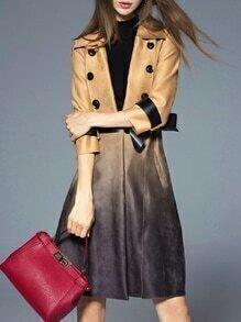Khaki Lapel Tie-Waist Pockets Gradient Coat