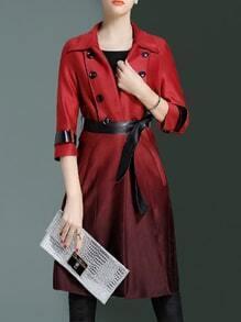 Burgundy Lapel Tie-Waist Pockets Gradient Coat