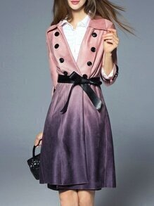 Pink Lapel Tie-Waist Pockets Gradient Coat