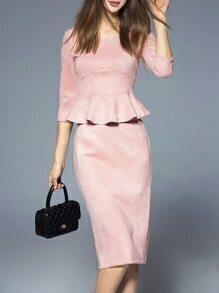 Pink Backless Peplum Top With Split Skirt