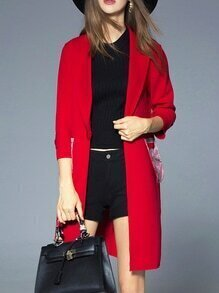 Red Lapel Print Pockets Coat