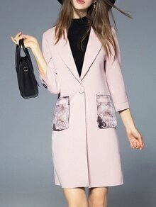 Pink Lapel Print Pockets Coat