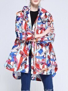 Multicolor Cars Print High Low Hooded Coat