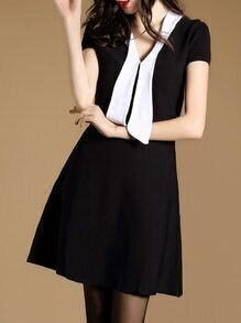 Black Contrast White V Neck A-Line Dress