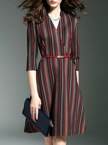 Multicolor Color Block V Neck Belted A-Line Dress