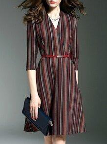 Multicolor Color Block V Neck Belted A-Line Dress