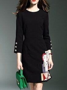 Black Crew Neck Applique Pouf Shift Dress