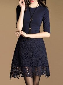 Navy Contrast Crochet Hollow Out Dress