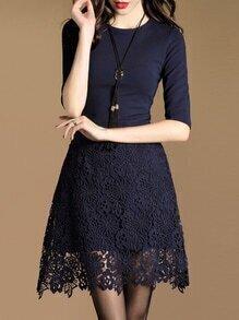 Navy Contrast Crochet Hollow Out Dress