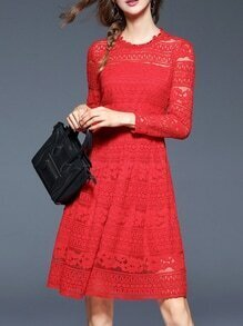 Red Sheer Embroidered A-Line Lace Dress