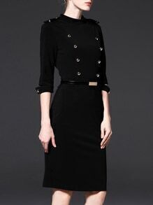 Black Beading Zipper Belted Sheath Dress