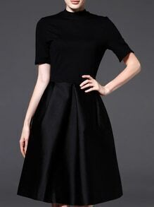 Black Crew Neck Pockets A-Line Dress