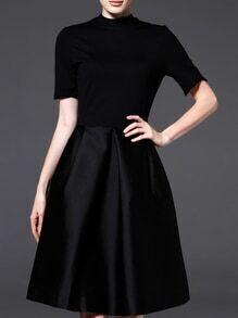 Black Crew Neck Pockets A-Line Dress