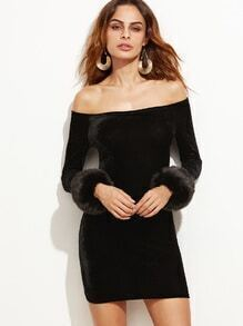 Off The Shoulder Faux Fur Cuff Velvet Dress