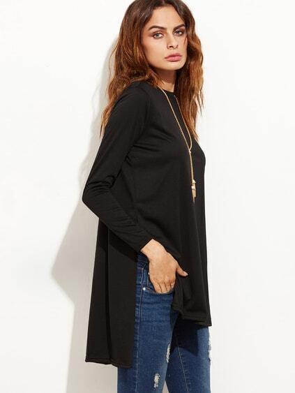 Black Slit Side High Low T-shirt