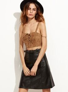 Khaki Lace Up Zipper Back Strap Suede Top
