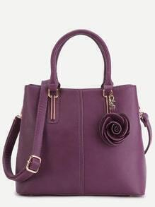 Purple PU Floral Trim Handbag With Strap