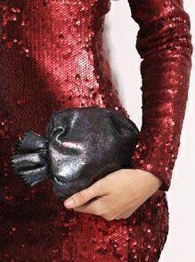 Black Colorful Glossy Zip Closure Cute Candy Bag