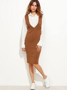 Khaki Deep V Neck Slit Back Knit Pinafore Dress