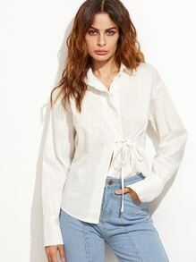 White Drop Shoulder Tie Trim Shirt