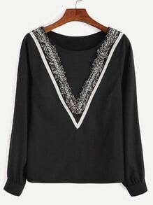 Black Embroidered Tape Detail Fringe Blouse