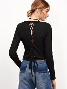 Black Metal Eyelet Lace Up Back Ribbed T-shirt