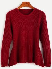 Burgundy Ribbed Peplum Sweater