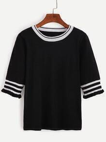 Contrast Trim Elbow Sleeve Jersey Sweater