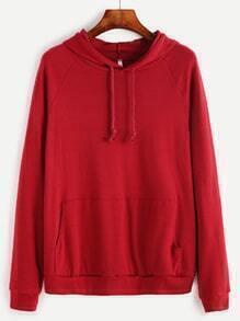 Burgundy Raglan Sleeve Hooded Sweatshirt