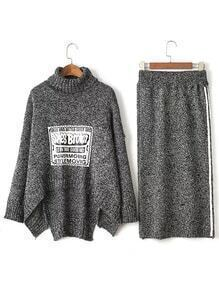 Grey Turtleneck Asymmetrical Sweater With Striped Skirt