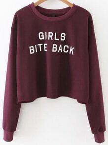 Burgundy Letter Print Sweatshirt
