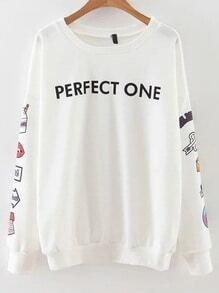 Sweat-shirt imprimé lettres - blanc