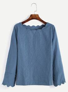 Blue Scalloped Long Sleeve Blouse