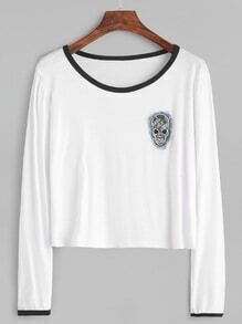 White Contrast Trim Skull Patch T-shirt