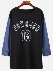 Color Block Varsity Print Long T-shirt