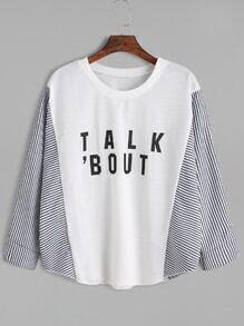 White Striped Letter Print Loose T-shirt