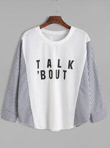 White Striped Letter Print Loose T-shirt