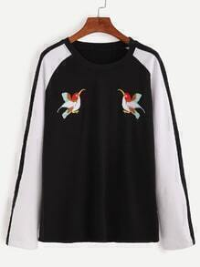 Color Block Bird Embroidery Raglan Sleeve T-shirt