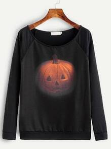 Color Block Pumpkin Print Raglan Sleeve T-shirt
