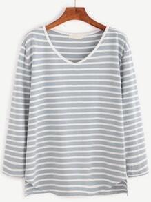 Blue Striped V Neck Dip Hem T-shirt